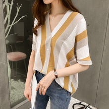 Summer spring new fashion women white striped blouse casual V-neck bat sleeve shirts loose tops Ladies Clothing