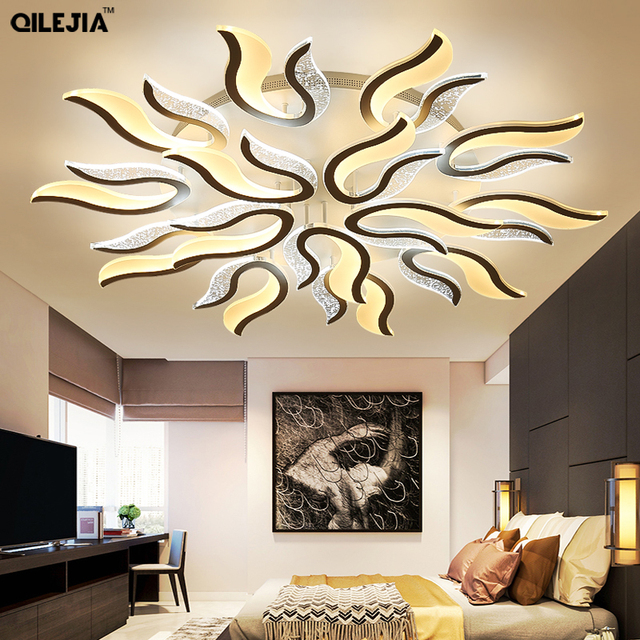 White Finished LED Chandeliers Modern Lights For Living Room Bedroom Dinning Room Lustres Hanging Led Acrylic Lampara lighting