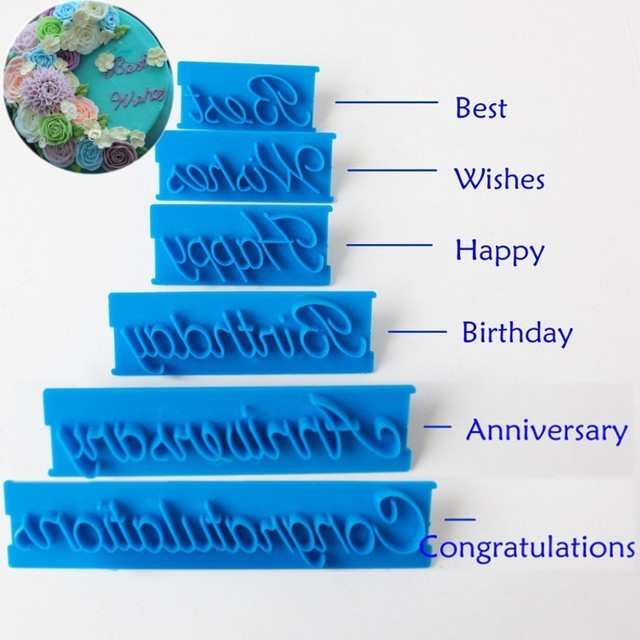 6pcs Set Letter Mold Happy Birthday Best Wishes Plastic Cookie Cutter Cake Biscuit Stamp