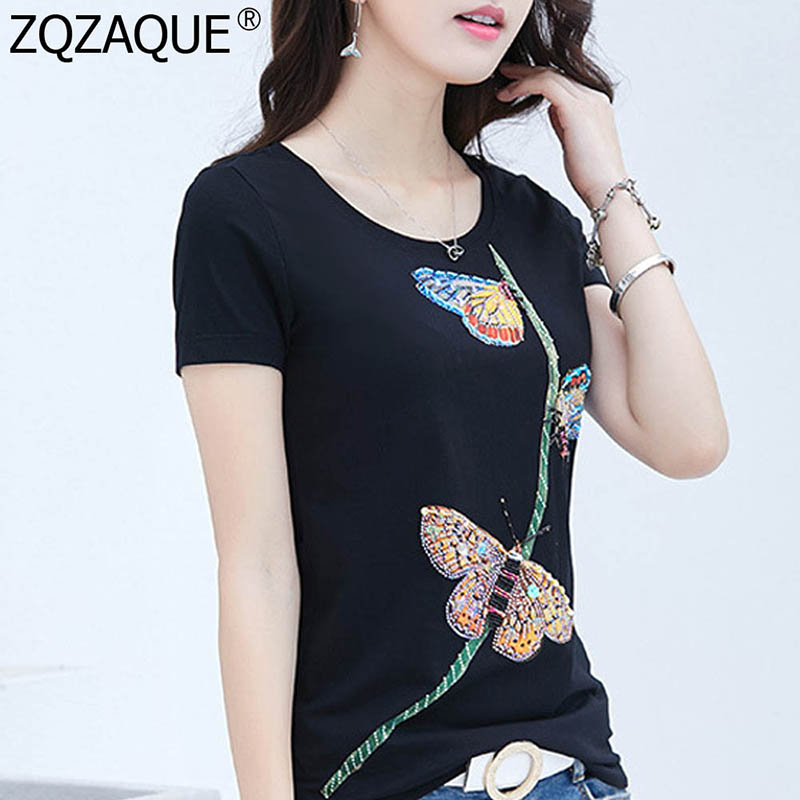 4XL Plus Size Short Sleeve O Neck T-Shirts For Women Girl Embroidery Butterfly Tshirt Manual Drill Tops Fashion Casual Pullover