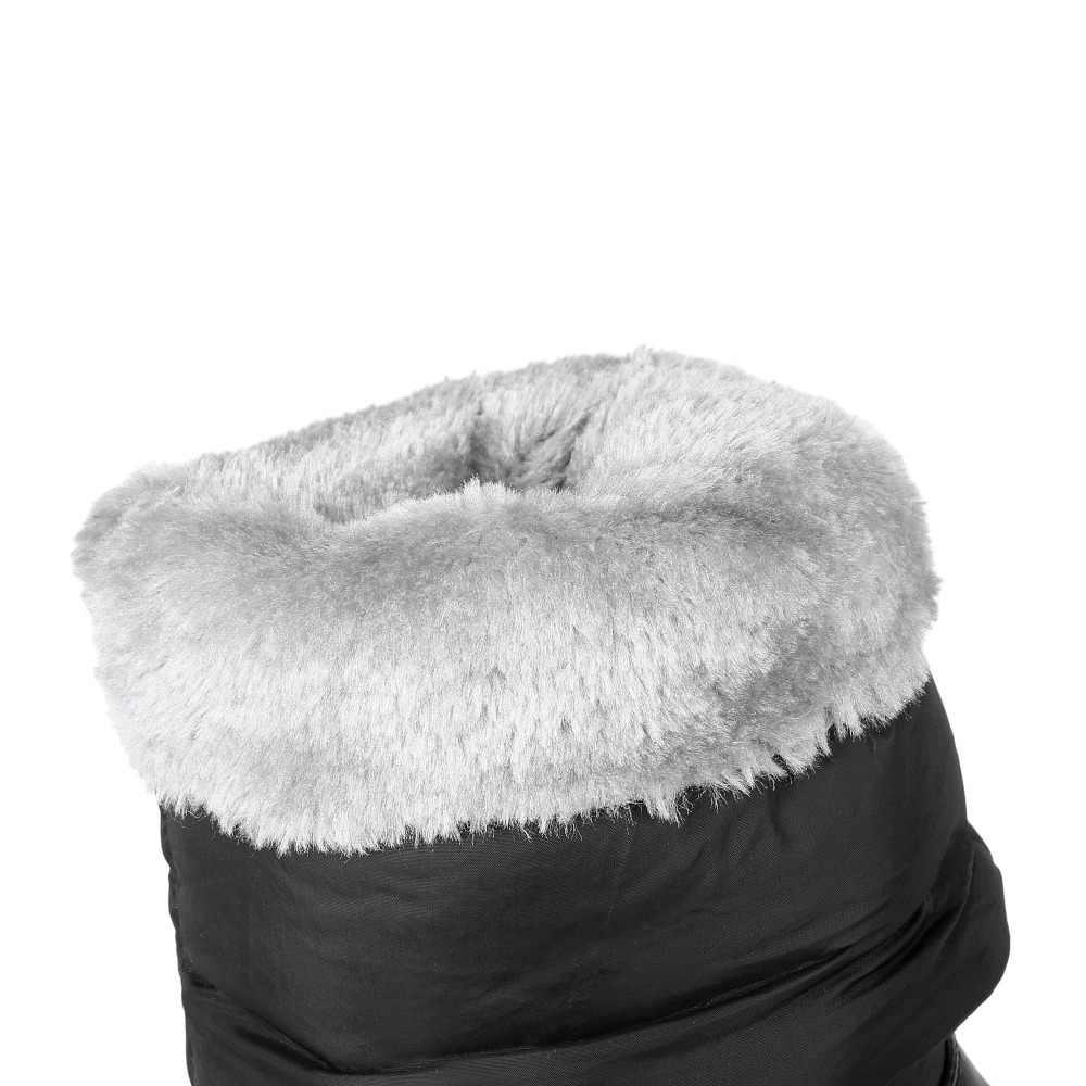 Krazing Pot 2019 platformu kama kristal kadınlar kış pamuklu ayakkabılar sıcak tutmak kar botları yuvarlak ayak katı rahat orta buzağı çizmeler L5B