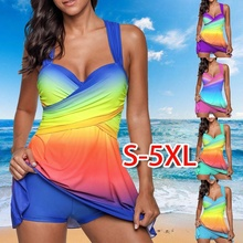ZOGAA Summer Sexy Gradient One Piece Swimsuit Skirt Swimwear Women Two Push Up Beach Bathing Suit Dress Plus Size 5XL