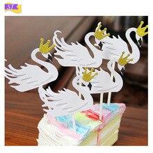 12pcs gold powder crown white swan birthday cake decoration card insertion dessert table dress up flag wedding party gift