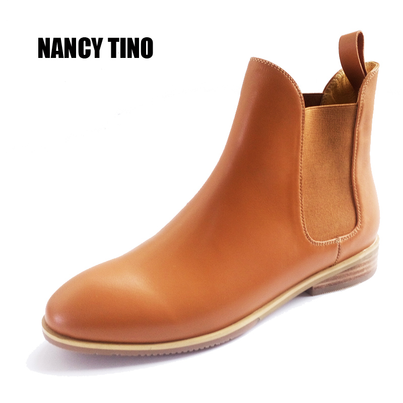 NANCY TINO 2017 New Genuine Leather Women Ankle Boots Pointed Flat With Elastic Shoes Comfortable Ladies Chelsea Martin Boots 2016 paris show locomotive boots liu wen with the cool boots hollow out black martin boots ladies shoes comfortable flat boots