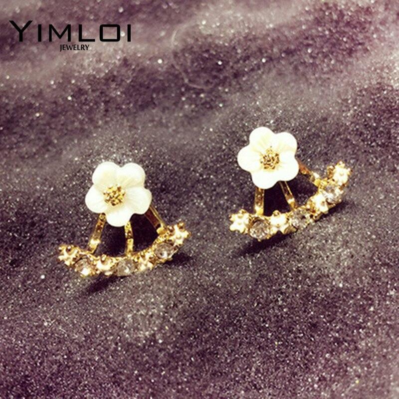2017 New !!! Hot Fashion Fine Jewelry Gold Rhinestone Colorful Flowers Dazzling C-type Butterfly Stud Earrings For Women E299