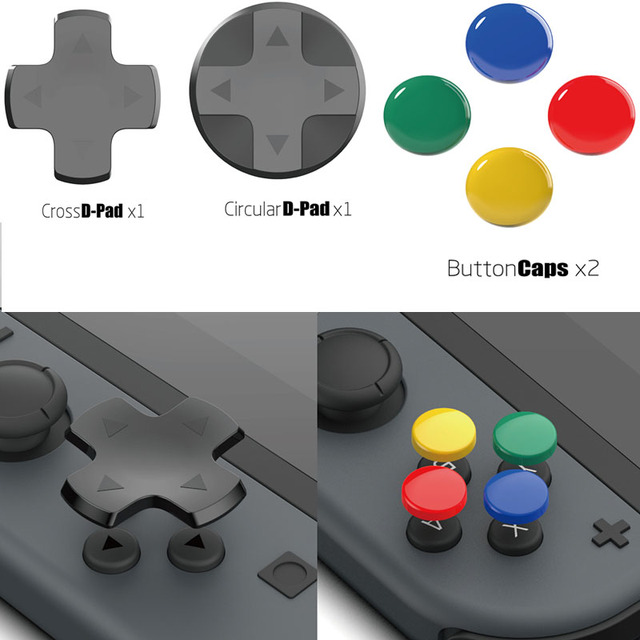 Kit de botões 10 em 1 para nintendo switch, botão analógico de controle de videogame e capa d pad para nintendos switch acessórios ns joycon
