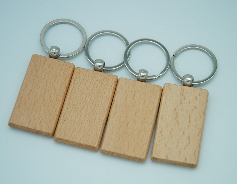 250PCS Blank Rectangle Wooden Key Chain DIY Promotion Customized Key Tags Promotional Gifts