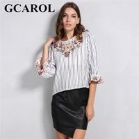 GCAROL New Arrival Emboirderd Floral Striped Women Blouse 3 4 Flare Sleeve Sweet Floral Shirt Vintage