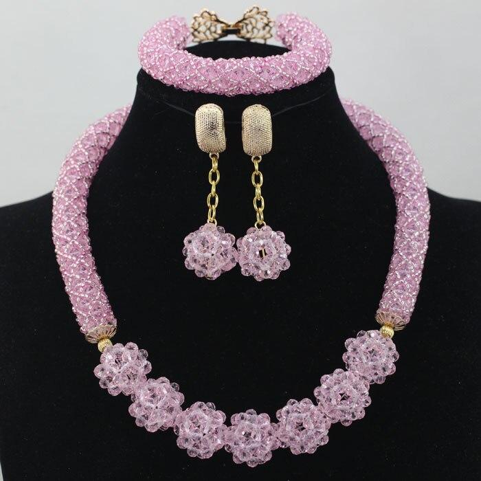 2016 Последние африканские Наборы свадебных ювелирных изделий Милый ребенок розовый много цветов в нигерийском стиле Бусины костюм кристалл...