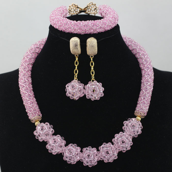 2016 Latest African Wedding Jewelry Sets Cute Baby Pink More Color Nigerian Beads Costume Crystal Accessory Free Shipping ALJ714