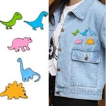 Мультяшная мини-брошь с динозавром на булавке, милые эмалированные заколки с животными, украшение для одежды, шляпы, металлический значок, броши для женщин и мальчиков