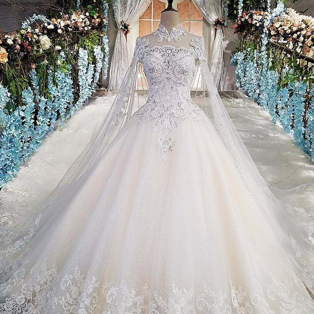 Online Shop Luxury wedding gowns with cape beaded ball gown short sleeves  high neckine lace vestido de noiva princesa real photos 2018  4dda4a265e3c