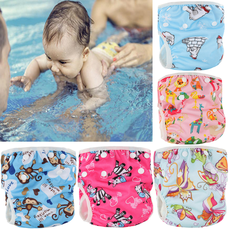 Pororo 1pc Baby Swimming Diaper Waterproof Adjustable Cloth Diapers Swimwear Leakproof Cover Reusable Boy Girl Nappies