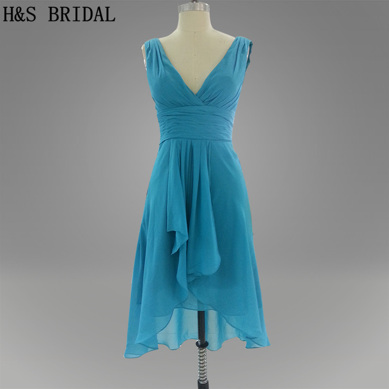 Real Model Deep V neck Blue color A line Short   bridesmaid     dress