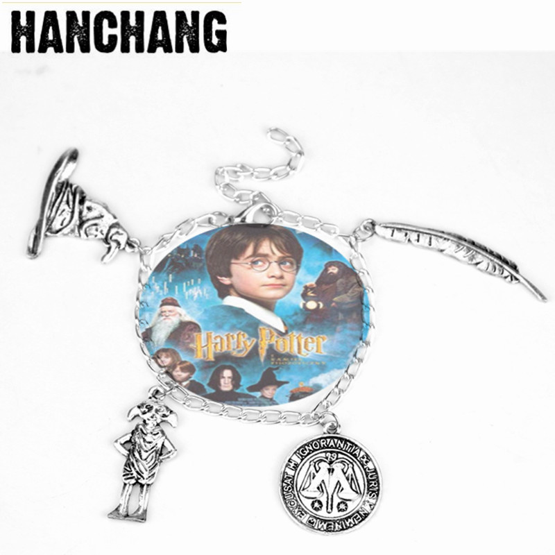 Classical Movie HP Inspired Bracelet Women Magic Hat Leaf Pendant Bangle Bracelet Charm Chain Wristlet For Party Gifts