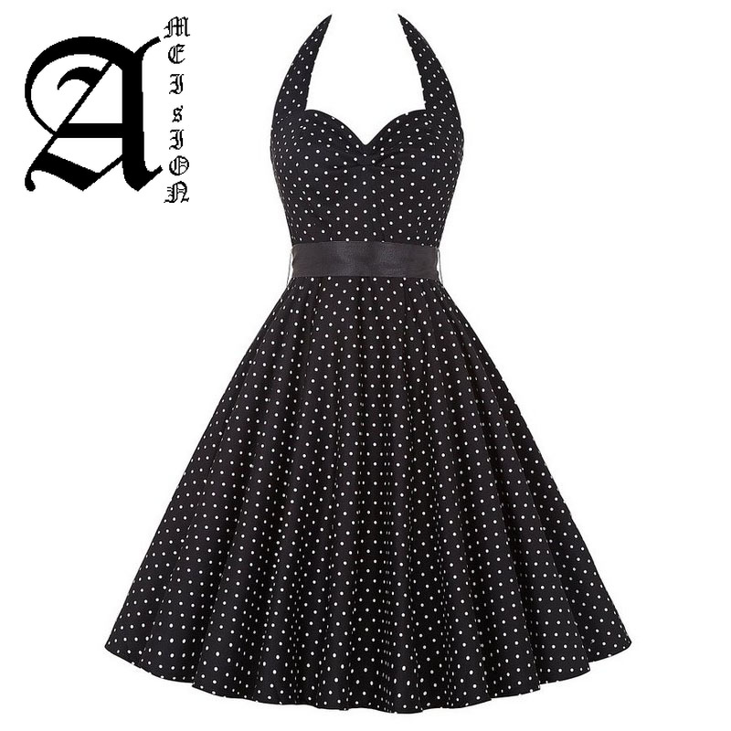 Women Polka Dot Dress Big Swing Vestidos Retro Robe Casual Prom Rockabilly Party Dress 50s 60s Pinup Vintage Dresses in Dresses from Women 39 s Clothing