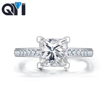 QYI 925 sterling Silver  Women Engagement Jewelry 1.6 ct Cushion Cut Simulated diamond Female Wedding Finger Flower Rings