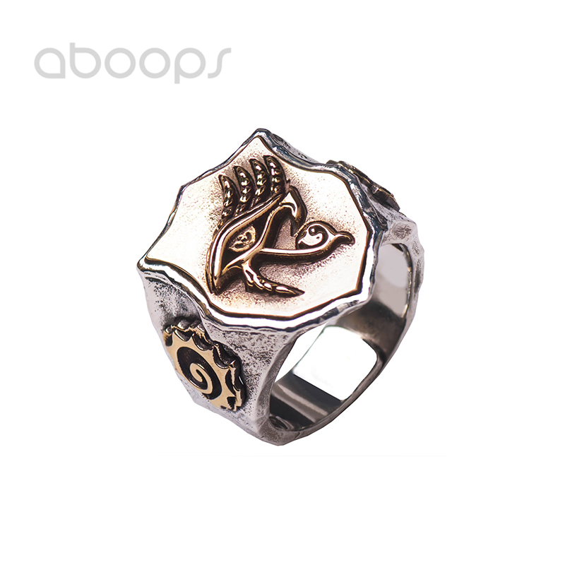Two Tone 925 Sterling Silver Eye of Horus Ring for Men Boys Adjustable Size 7 11 Free Shipping in Rings from Jewelry Accessories