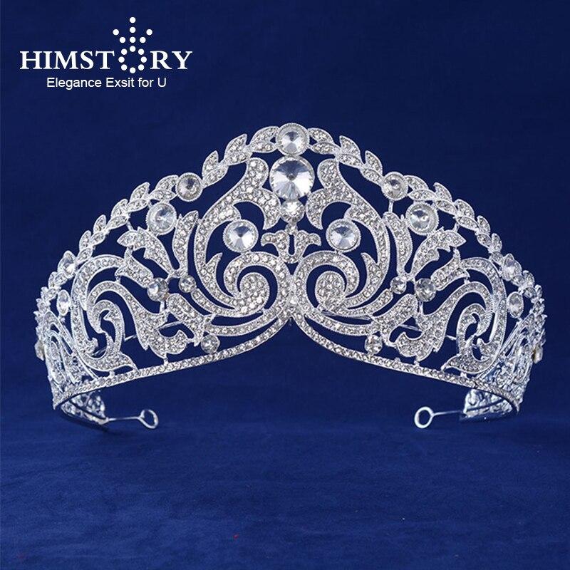 HIMSTORY New Fashion Huge European Bride Wedding Crown  Crystal Large Vetiver Irises Queen Hair Accessories