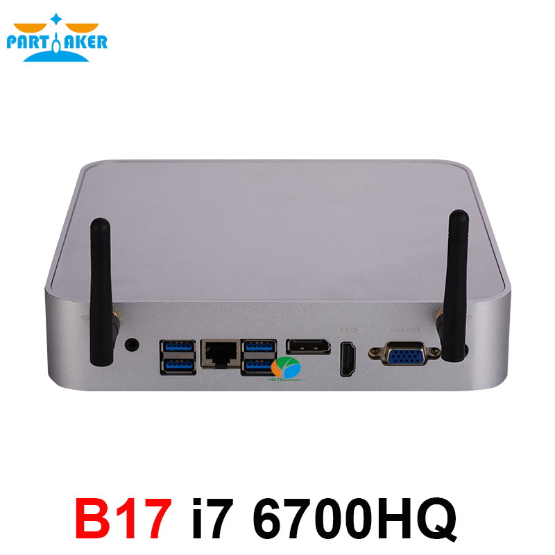 Partaker B17 Mini PC i7 6700HQ 6th Gen Intel Core Processor DDR4 RAM Windows 10 Gaming PC 4K UHD HTPC HDMI DP VGA WiFi business mini pc htpc with intel 6th gen skylake corei7 6500u i7 6600u windows 10 barebone pc fanless computer 1 dp metal case
