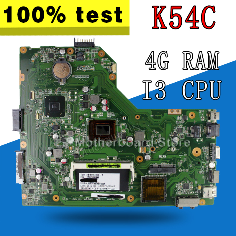 K54C Motherboard I3 CPU 4GB RAM For ASUS K54 K54C X54C Laptop motherboard K54C Mainboard K54C Motherboard test 100% OK