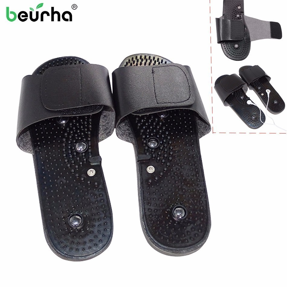 1 Pair Electrode Massage Slipper Massager Physiotherapy Tens Acupuncture Therapy Body Foot Relaxing Massager Machine Rubber brands xft 320 dual tens machine digital massager massage electrode pad acupuncture pen body foot massage device pain relief