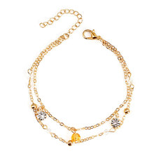 Fashion Crystal Pendant Double Layered Bracelet Female Personality Creative Hand Chain Accessories for Women