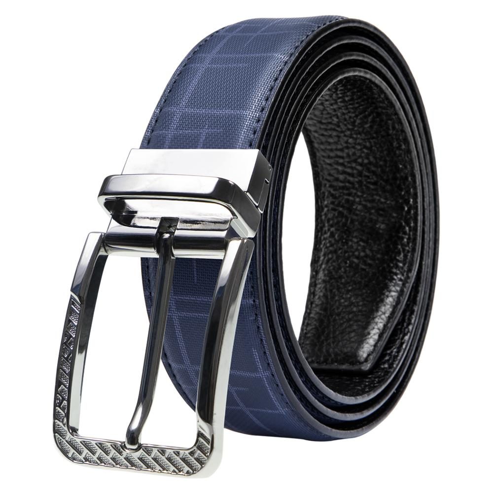 Barry.Wang Men Belt Genuine Leather Retro Waist Belt Alloy Pin Buckle Belts Black Blue Belt Automatic Buckle Belt For Jeans