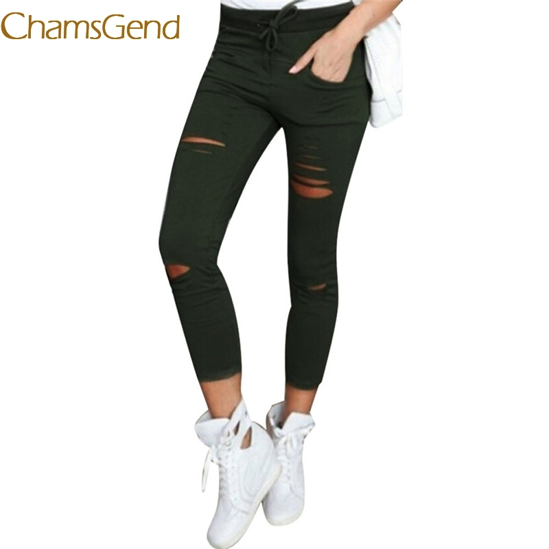 2017 A# hot  6 color hole  jeans Women XXXL Cotton Blend Elastic High Waist Trousers LadiesVintage Pencil Slim Skinny jeans