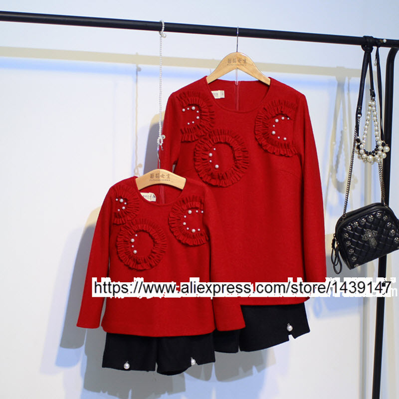 Children clothing Mother Daughter red jacket and black short pants , 2-10 years old Child baby Girl , Women plus Large size 4XL children clothing mother and daughter dress red printing 2 10 years old child little baby girls clothes women large size 4xl