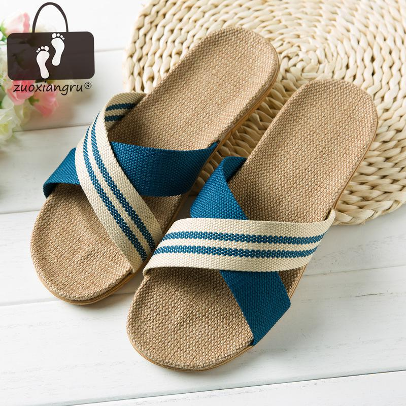 Hot New Summer Men Flax Flip Flop Canvas Linen Non-Slip Designer Flat Sandals Home Slippers Man Fashion Slides Casual Straw Shoe coolsa new summer linen women slippers fabric eva flat non slip slides linen sandals home slipper lovers casual straw beach shoe page 4