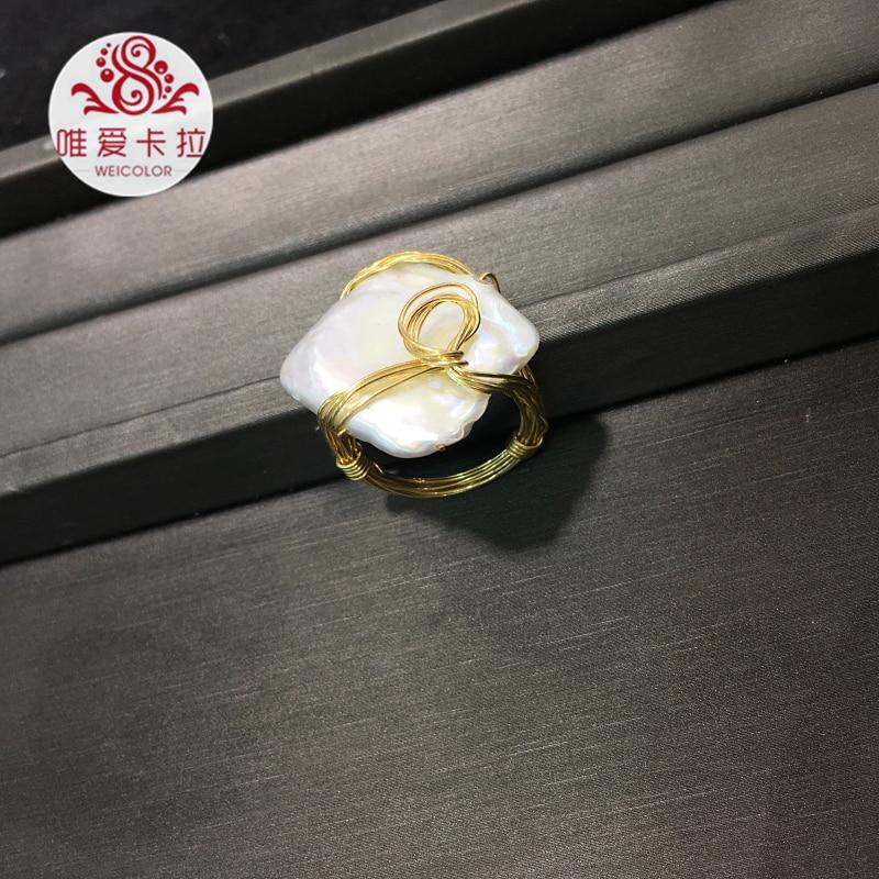 WEICOLOR bricolage Design fait main Ring.15 20mm blanc naturel carré perle d'eau douce sur or mélangé. Contact pour taille en diamètre.