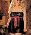 Caliente! 2015 nuevas mujeres atractivas de la ropa interior establecer tamaño más negro ropa de dormir de encaje sin tirantes del camisón B4 Underwear Set envío gratis