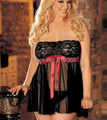HOT!!2015 New Sexy Women's Lingerie Set Black Plus-size Sleepwear Lace Strapless Nightgown B4 Underwear Set Free Shipping