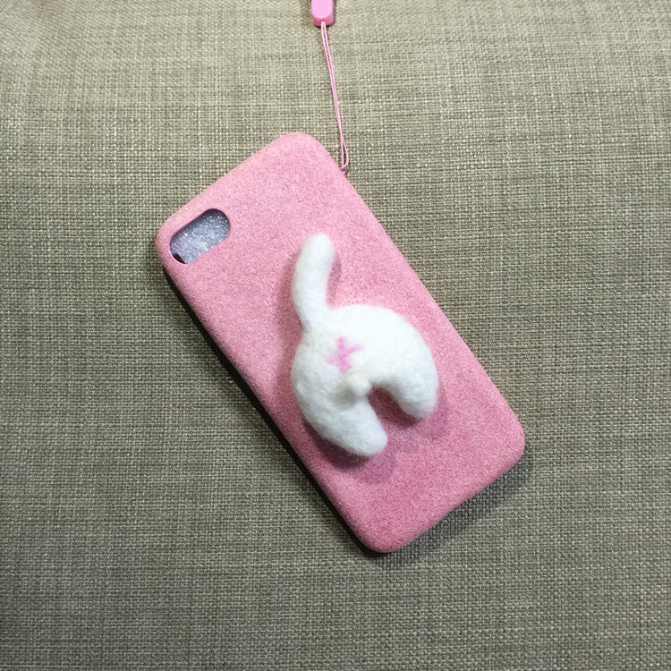 Corgi case handmake igły filcu wełnianego słodkie cat dog tyłek tyłek pokrywa dla apple iphone 6 6s plus iphone 7 7 p miękkie telefon komórkowy case 25