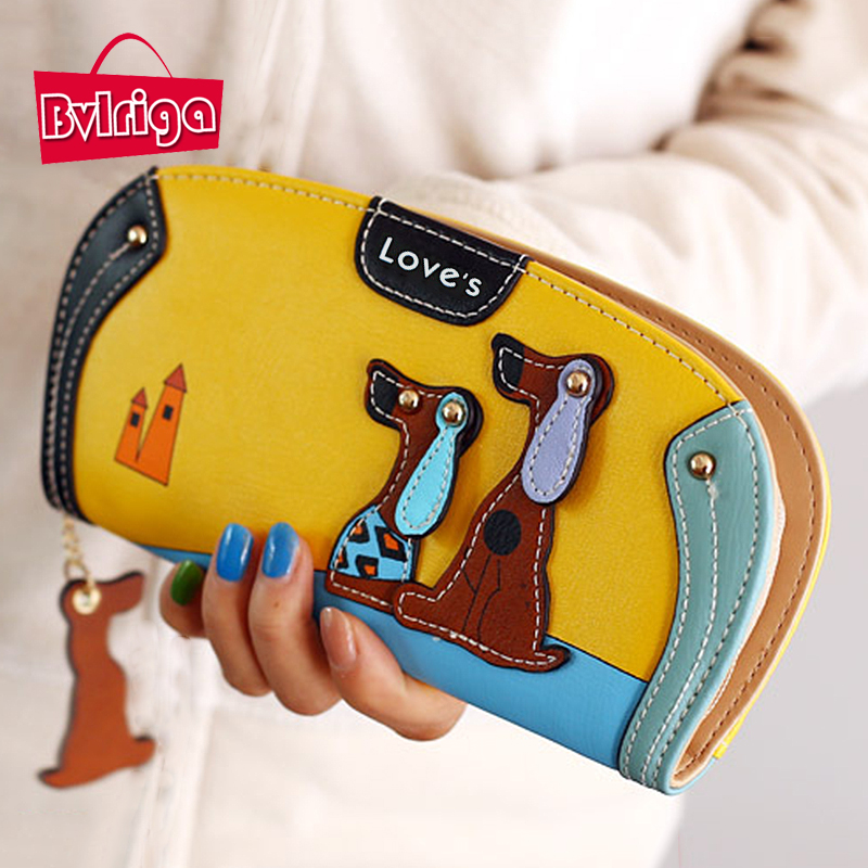 BVLRIGA Cartoon dog women purse bag designer wallets famous brand women wallet long money clip dollar price zipper coin pockets  bvlriga women wallets famous brand leather purse wallet designer high quality long zipper money clip large capacity cions bags