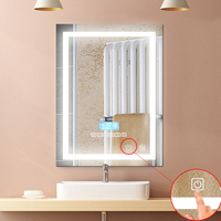 1Pc Modern 24W LED Bathroom Mounted Wall Mirror Illuminated Lighted Simple Backlit With Touch Button Vanity Light Makeup Mirror