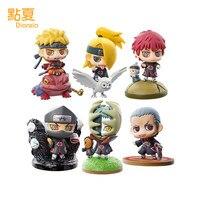 DIANXIA 6pcs Set Japan Anime Naruto AKATSUKI Deidara PVC Q Version Action Figure Toy Height About