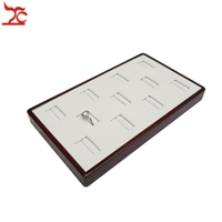 FREE SHIPPING 11 Slots Red Wood Jewellery Display Box White PU Wooden Ring Organizer Storage Tray 19*17*2cm