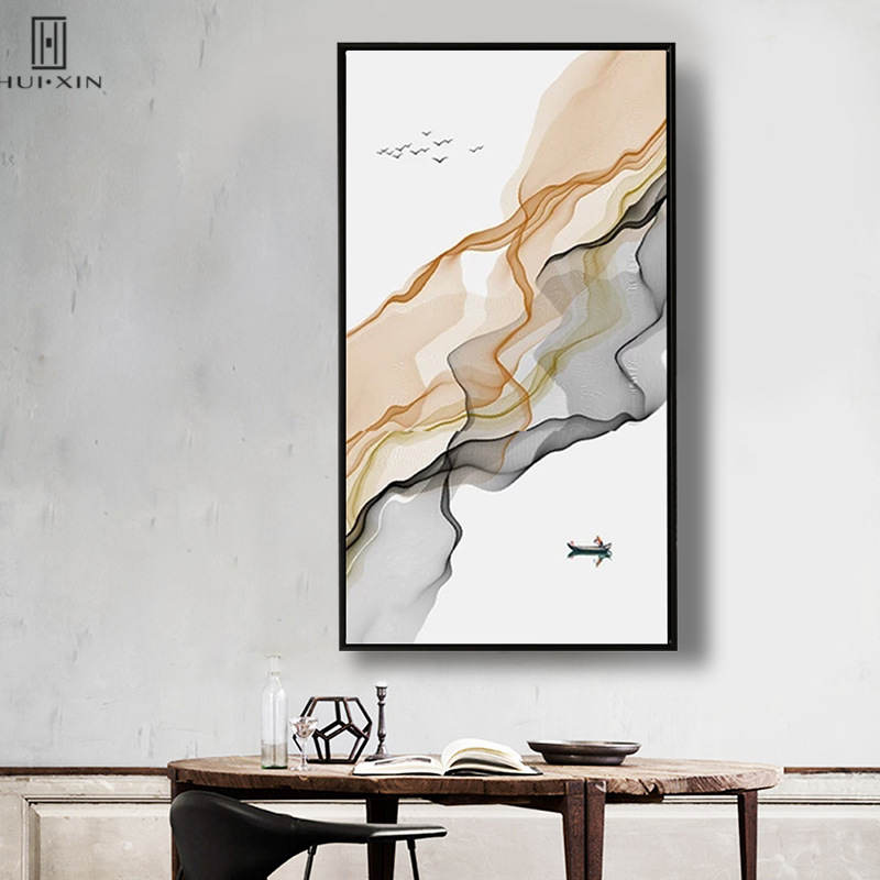 Abstract Chinese Style Mountain River Posters Brwon Black Ripples Small Boat Unframed Canvas Painting Art Print For Room Decor