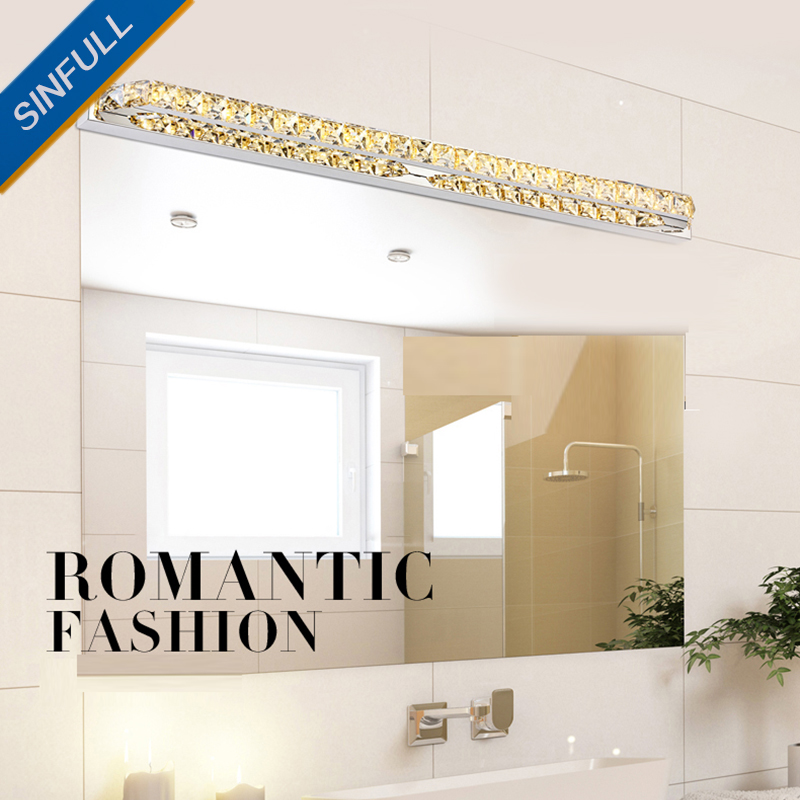 New Led Crystal Mirror Front Light Modern Stainless Steel Bathroom Wall Lamp Washroom Bedroom SMD2835 Indoor Home Led Lighting luxury modern white acrylic 12w led bathroom wall lamp mirror front fashion wall light showroom washroom wall lamp