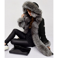 2018 fashion luxury brand women winter fur collar black duck coat Russia style thick down outwear jacket with big fox fur hooded