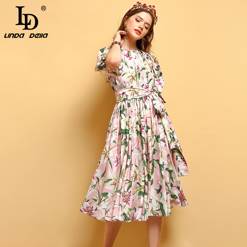 LD LINDA DELLA New Fashion Summer Dresses Women s Lantern Sleeve Lily Floral Print Bow Tie