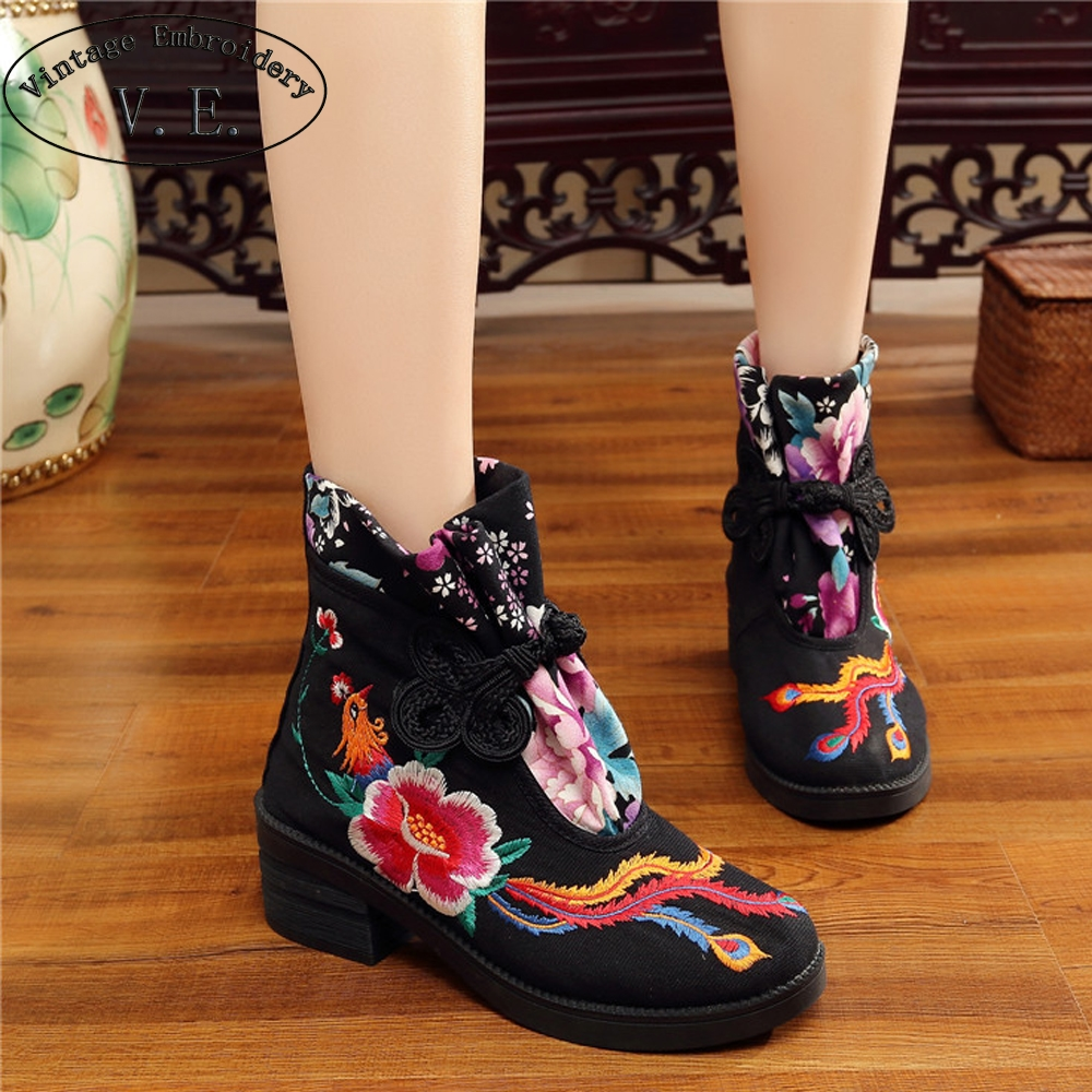 Vintage New Winter Women Boots Flower Phoenix Embroidered Casual Canvas Ankle Boot Vintage Cotton Booties Shoes Boats Mujer 2017 spring phoenix denim women embroidered lace up cloth mid calf boot platform winter shoes casual canvas femal classic soft