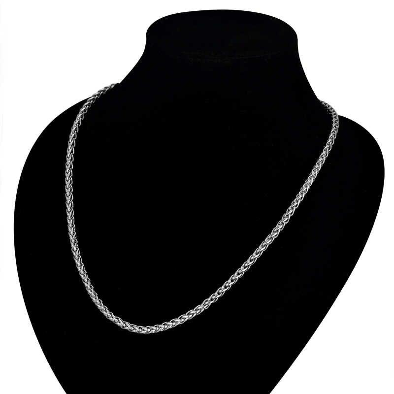Mężczyzna złoty łańcuszek naszyjnik ze stali nierdzewnej 316L 3MM złoty kolor liny połączony łańcuch naszyjniki dla mężczyzn/kobiet biżuteria collier lub