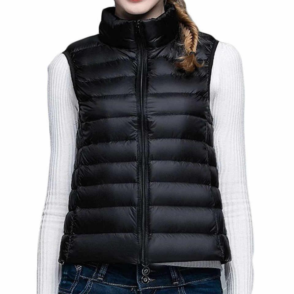2018 春秋冬 90% 白アヒルダウンベストカジュアルノースリーブダウンジャケット女性 2 ポケットスリムダウンコートプラスサイズ