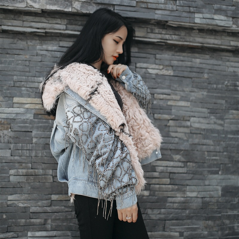 2017 Winter Women Denim Jacket With Real Fur Coat Real Lamb Fur Collar Jean Jacket Female Thick Warm Real Lamb Fur Lined Parka