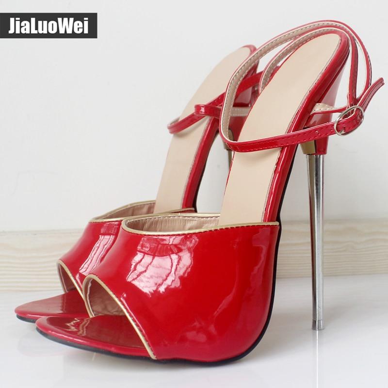 Mujeres Nuevo Jialuowei Alto Color Tacones Toe Cm Las Vestido Peep Sandalias Tobillo red Zapatos Correas Tacón Fetiche De 18 Custom Shiny Metal drIwrA