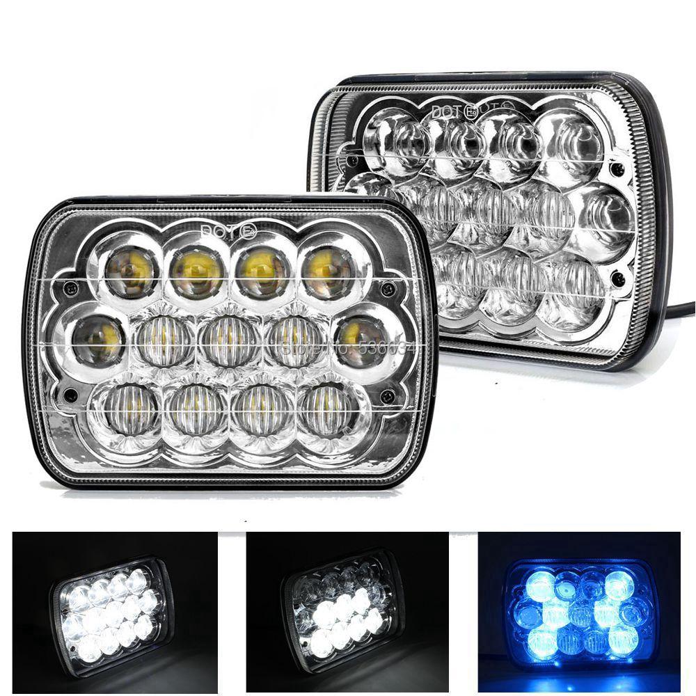 1 пара 7-дюймовый 45w светодиодные квадратные фары синий ДРЛ H4 из светодиодов фары для Dodge Ramcharger, Пикап Додж рам,Шевроле Сильверадо,Лада авто