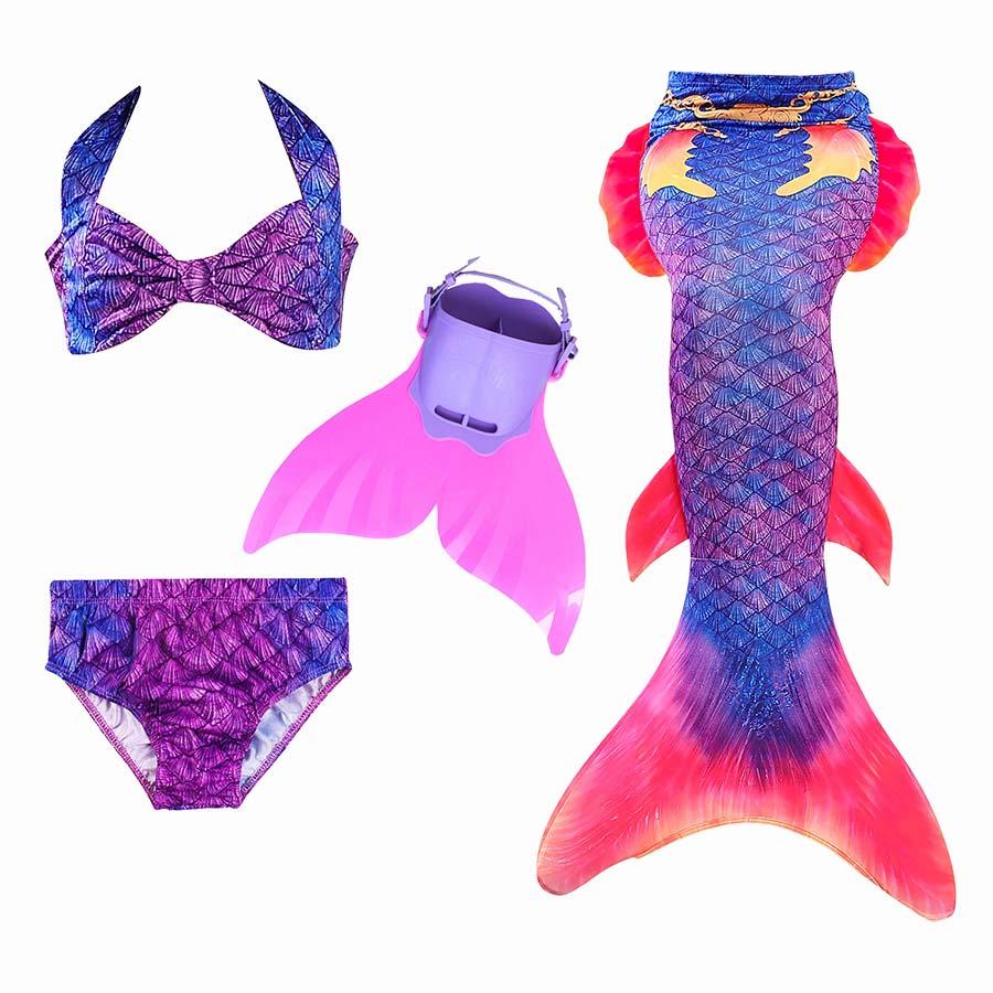 Ariel Kids Children Mermaid Tails for Swimming Mermaid Tail with Monofin Girls Costume Mermaid Bathing Suit Swimsuit with Bikini